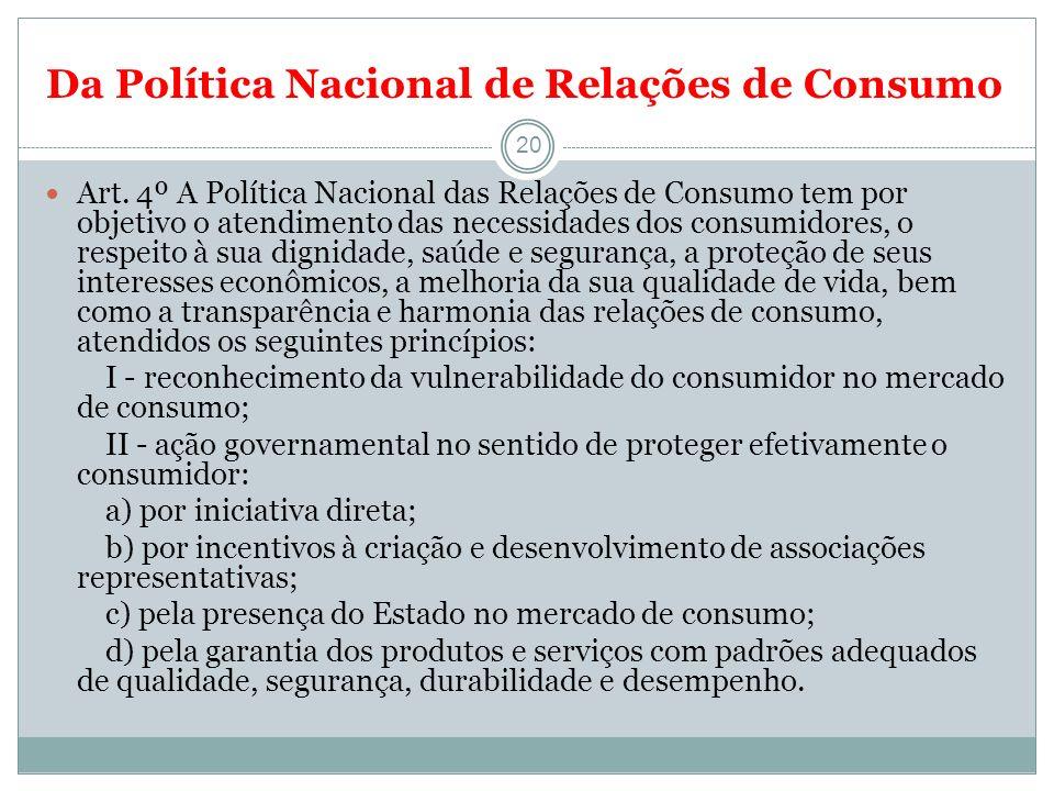 Da Política Nacional de Relações de Consumo