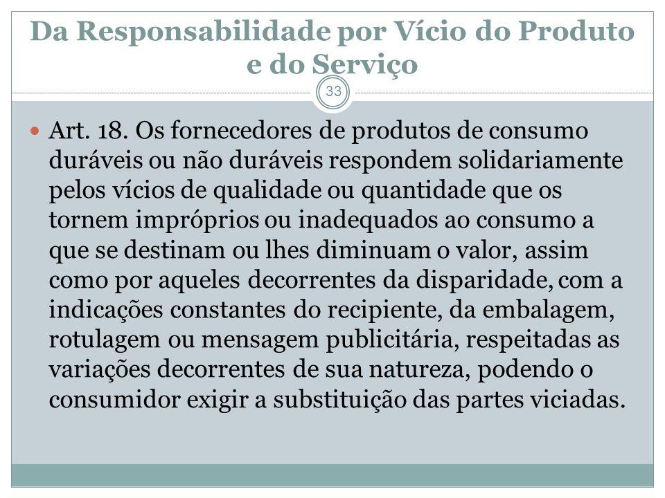 Da Responsabilidade por Vício do Produto e do Serviço