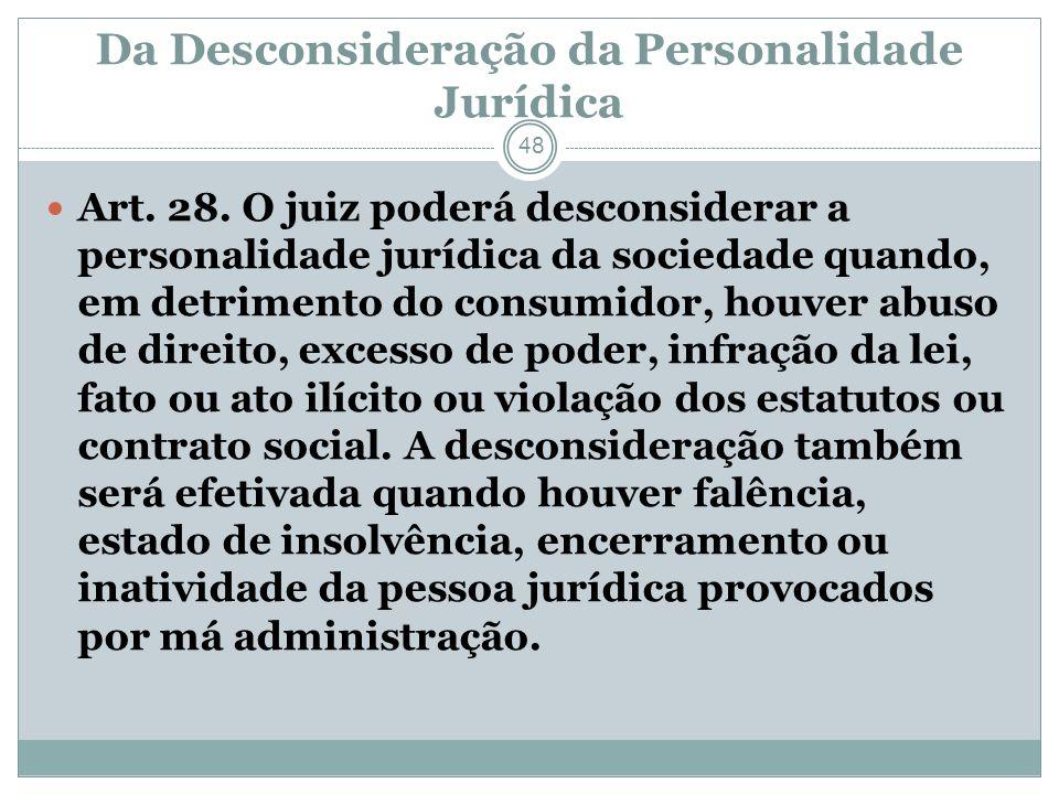 Da Desconsideração da Personalidade Jurídica
