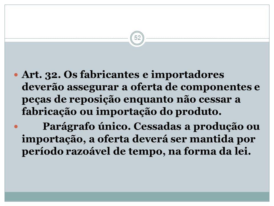 Art. 32. Os fabricantes e importadores deverão assegurar a oferta de componentes e peças de reposição enquanto não cessar a fabricação ou importação do produto.