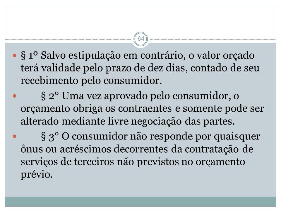 § 1º Salvo estipulação em contrário, o valor orçado terá validade pelo prazo de dez dias, contado de seu recebimento pelo consumidor.