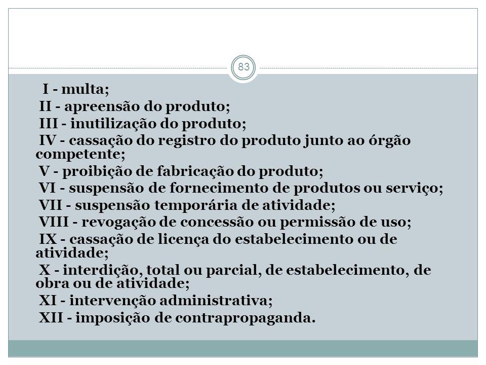 I - multa; II - apreensão do produto; III - inutilização do produto; IV - cassação do registro do produto junto ao órgão competente;