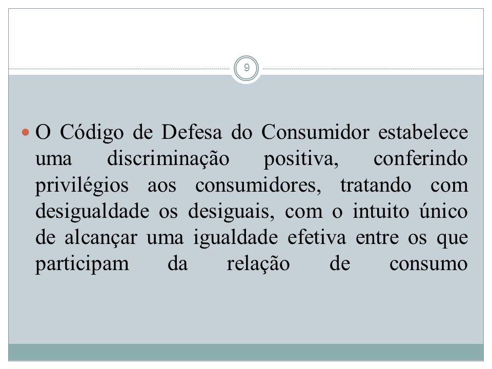 O Código de Defesa do Consumidor estabelece uma discriminação positiva, conferindo privilégios aos consumidores, tratando com desigualdade os desiguais, com o intuito único de alcançar uma igualdade efetiva entre os que participam da relação de consumo