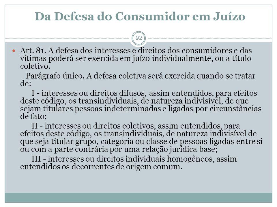 Da Defesa do Consumidor em Juízo