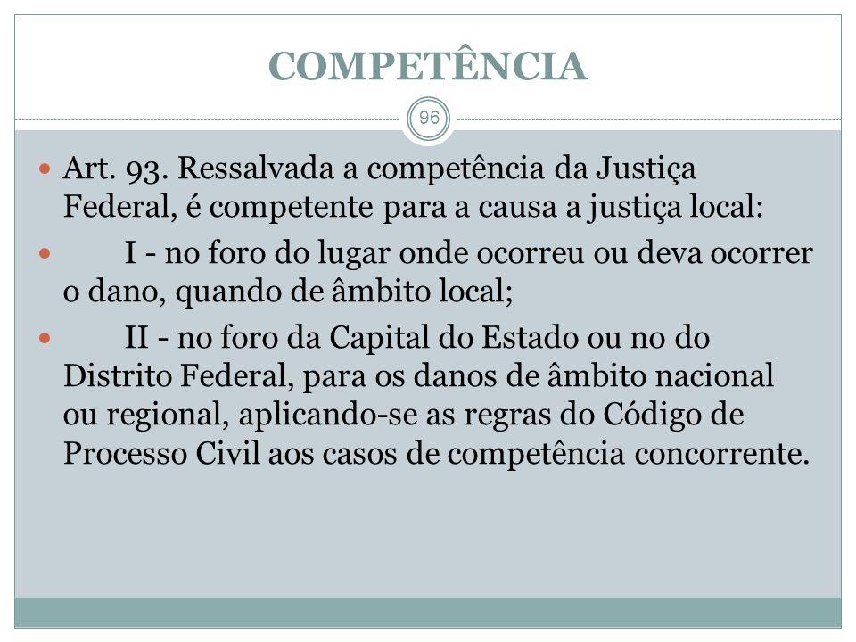 COMPETÊNCIAArt. 93. Ressalvada a competência da Justiça Federal, é competente para a causa a justiça local:
