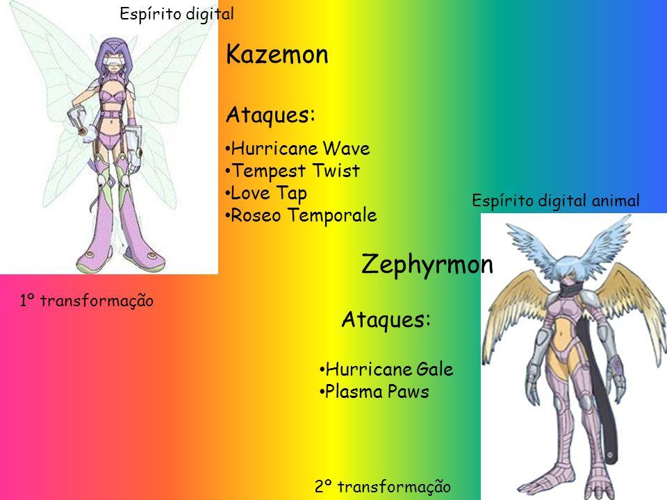 Kazemon Zephyrmon Ataques: Ataques: Hurricane Wave Tempest Twist