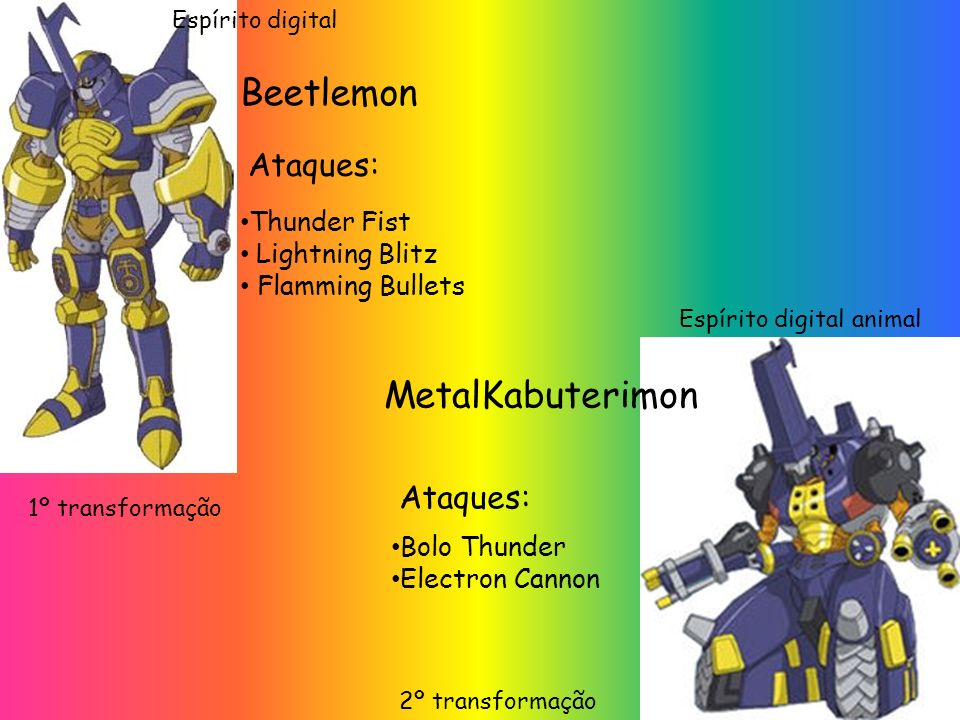 Beetlemon MetalKabuterimon Ataques: Ataques: Thunder Fist