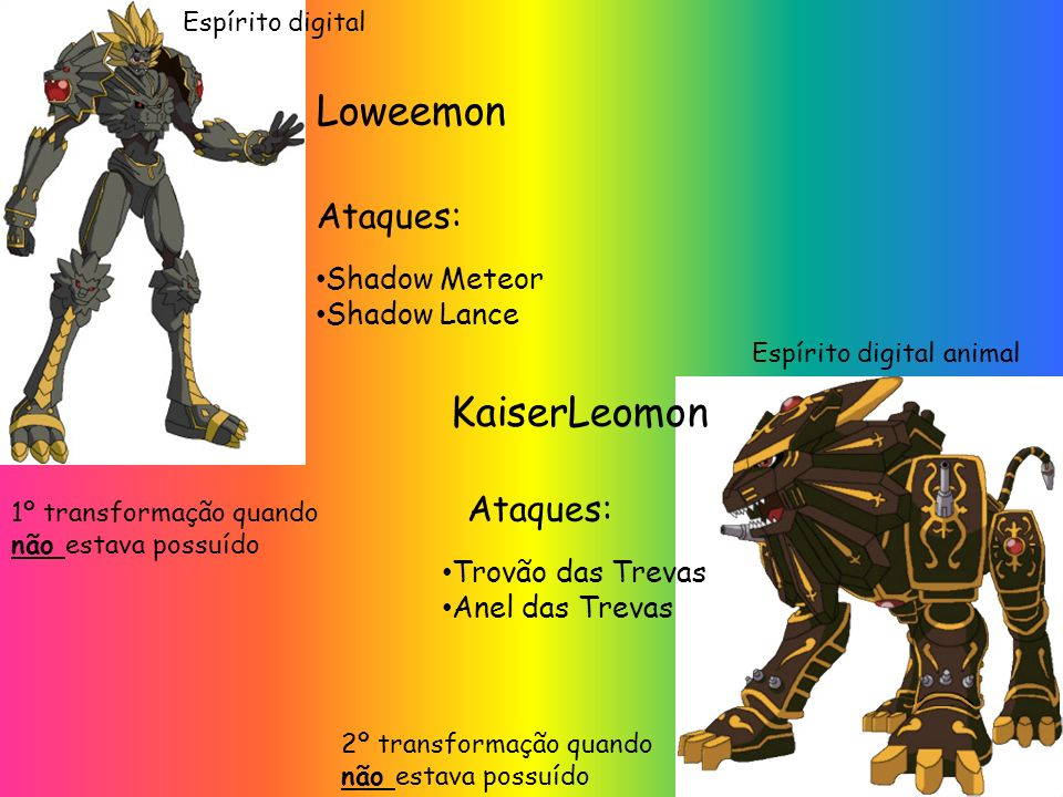 Loweemon KaiserLeomon Ataques: Ataques: Shadow Meteor Shadow Lance