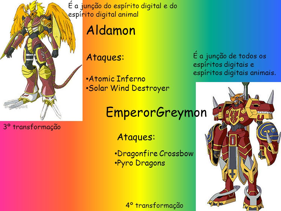 Aldamon EmperorGreymon Ataques: Ataques: Atomic Inferno