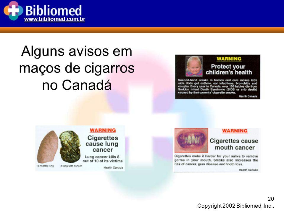 Alguns avisos em maços de cigarros no Canadá