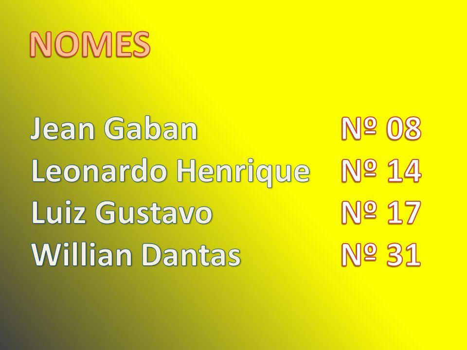 NOMES Jean Gaban Leonardo Henrique Luiz Gustavo Willian Dantas Nº 08
