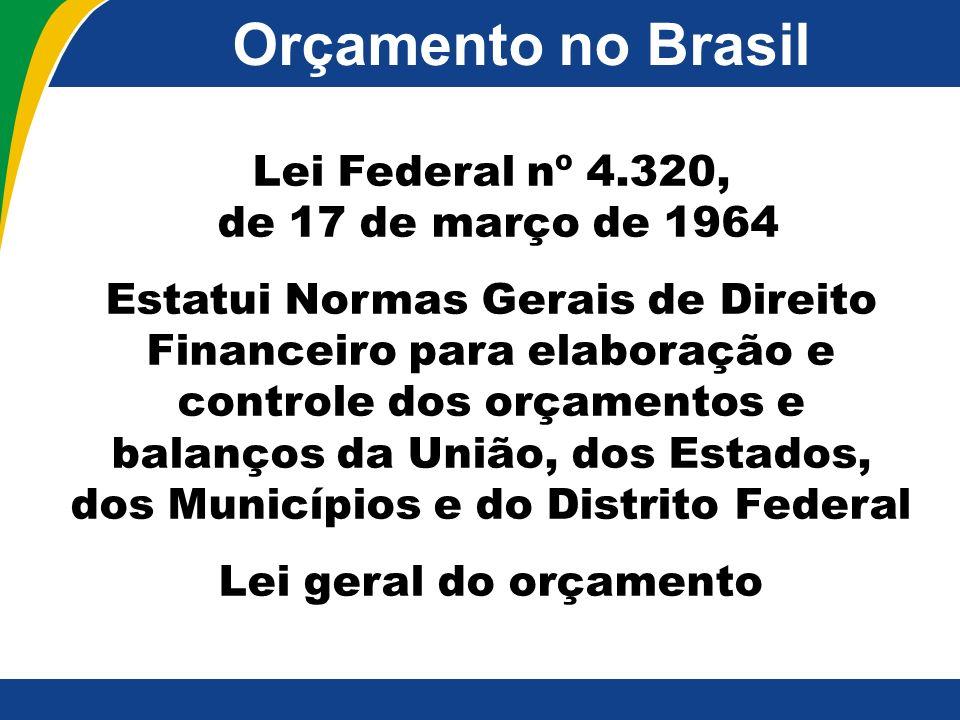 Orçamento no Brasil Lei Federal nº 4.320, de 17 de março de 1964