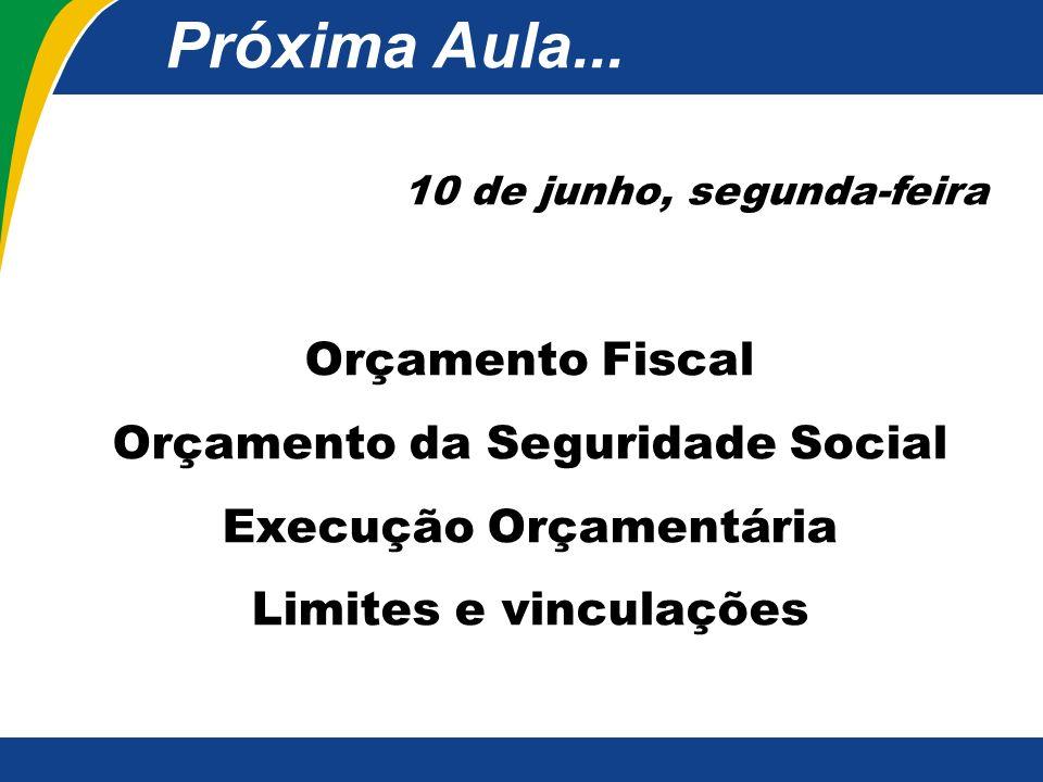 Próxima Aula... Orçamento Fiscal Orçamento da Seguridade Social
