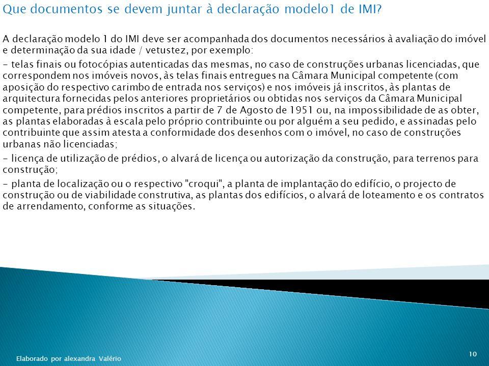 Que documentos se devem juntar à declaração modelo1 de IMI