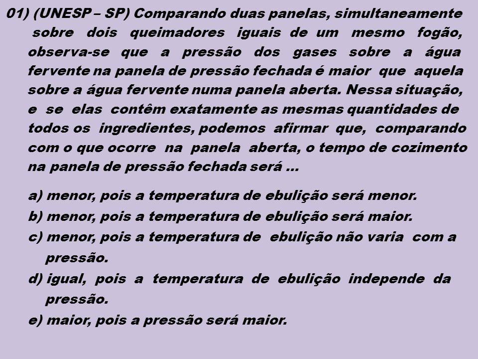 01) (UNESP – SP) Comparando duas panelas, simultaneamente