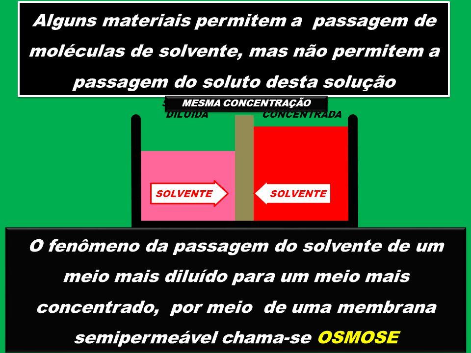 Alguns materiais permitem a passagem de moléculas de solvente, mas não permitem a passagem do soluto desta solução