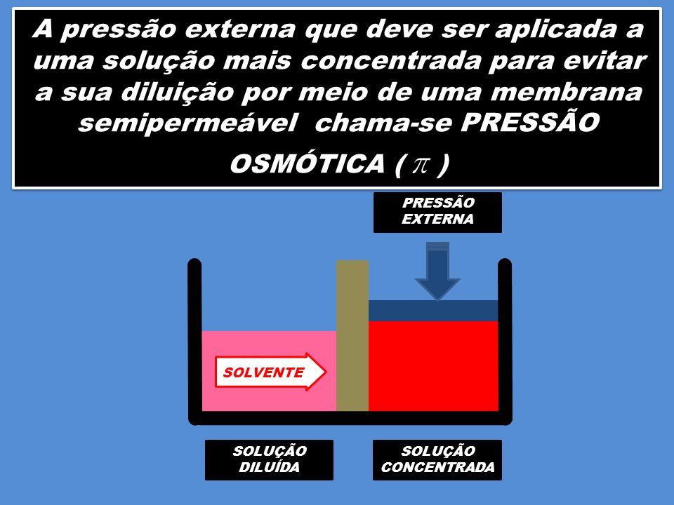 A pressão externa que deve ser aplicada a uma solução mais concentrada para evitar a sua diluição por meio de uma membrana semipermeável chama-se PRESSÃO OSMÓTICA ( π )