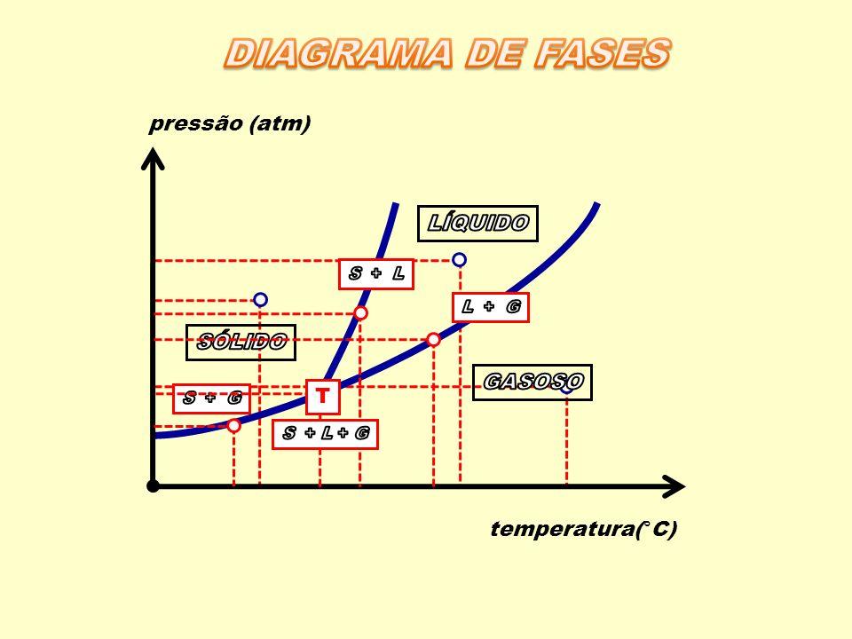 DIAGRAMA DE FASES pressão (atm) LÍQUIDO SÓLIDO GASOSO T