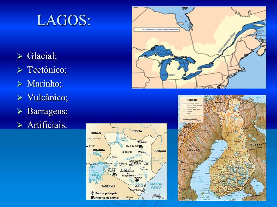 LAGOS: Glacial; Tectônico; Marinho; Vulcânico; Barragens; Artificiais.