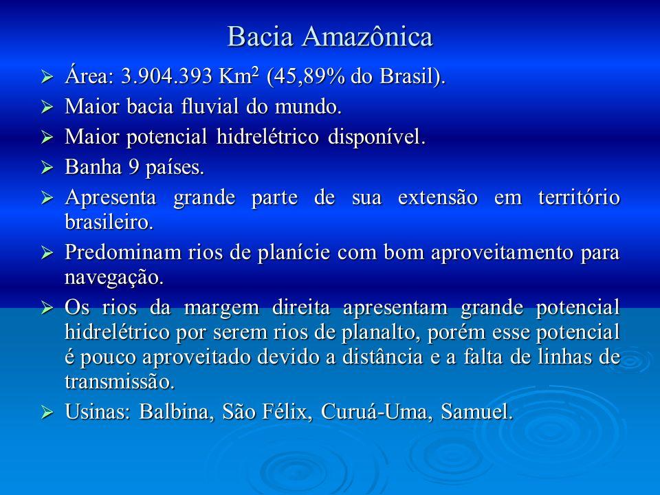 Bacia Amazônica Área: 3.904.393 Km2 (45,89% do Brasil).