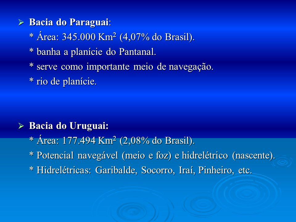 Bacia do Paraguai:* Área: 345.000 Km2 (4,07% do Brasil). * banha a planície do Pantanal. * serve como importante meio de navegação.