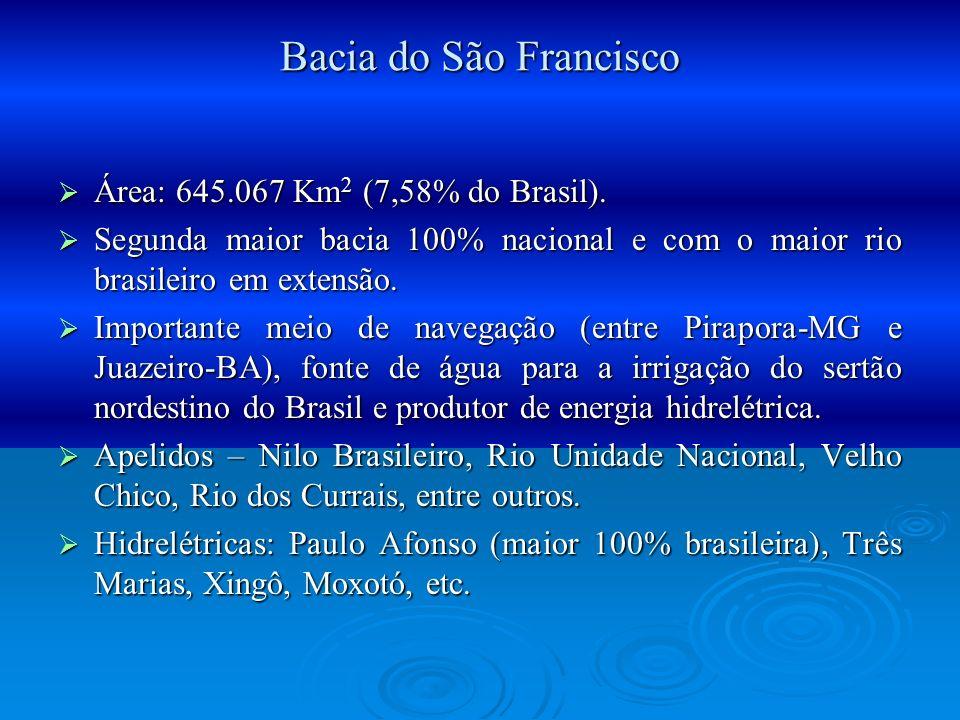 Bacia do São Francisco Área: 645.067 Km2 (7,58% do Brasil).