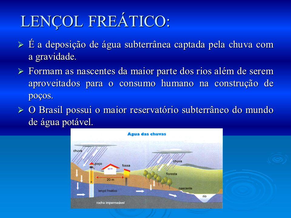 LENÇOL FREÁTICO: É a deposição de água subterrânea captada pela chuva com a gravidade.