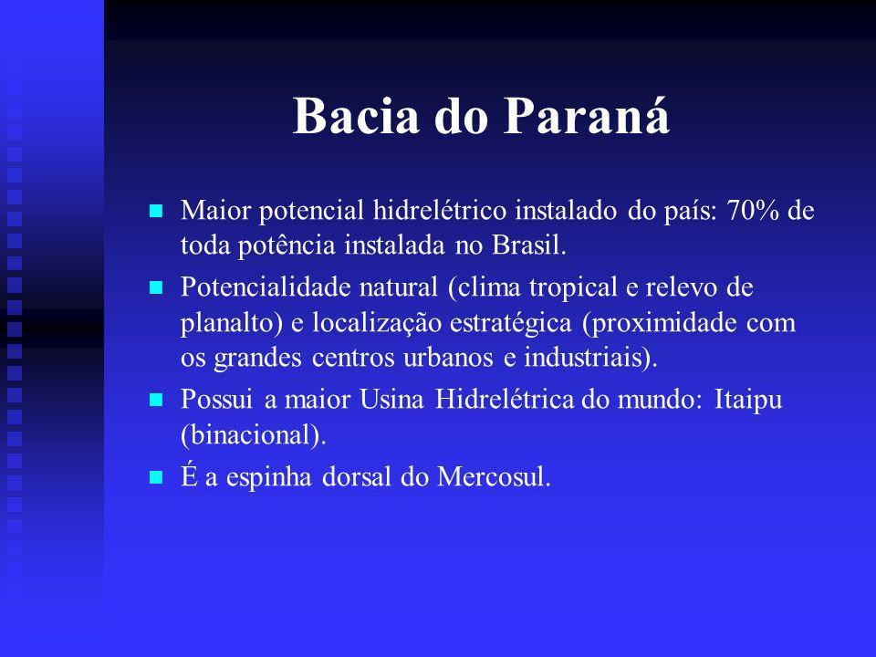 Bacia do Paraná Maior potencial hidrelétrico instalado do país: 70% de toda potência instalada no Brasil.