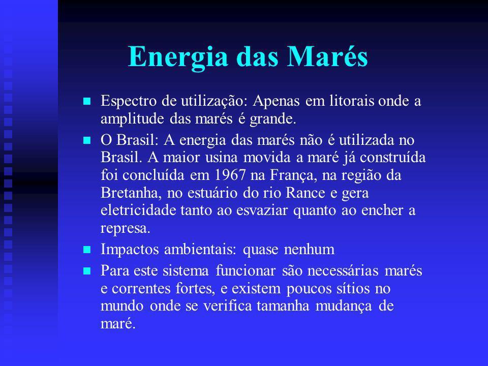 Energia das Marés Espectro de utilização: Apenas em litorais onde a amplitude das marés é grande.