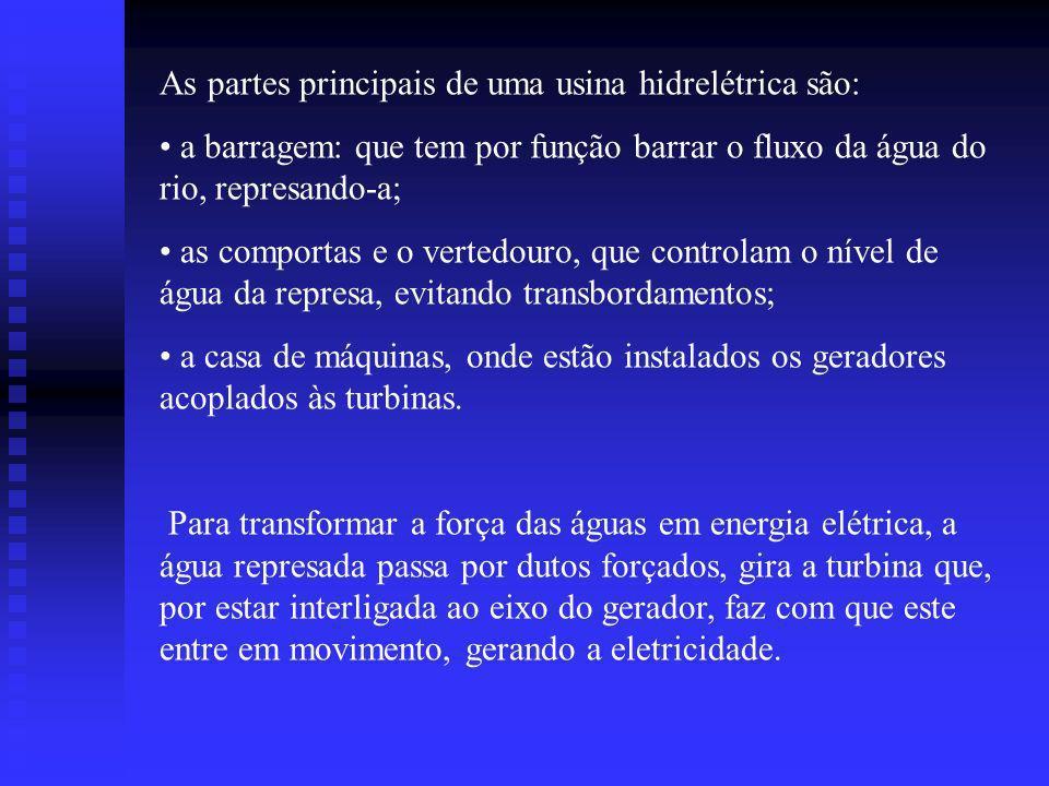 As partes principais de uma usina hidrelétrica são: