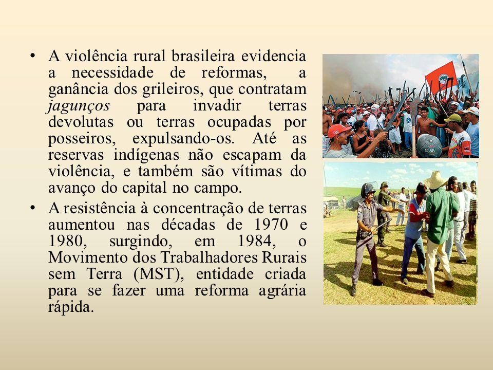A violência rural brasileira evidencia a necessidade de reformas, a ganância dos grileiros, que contratam jagunços para invadir terras devolutas ou terras ocupadas por posseiros, expulsando-os. Até as reservas indígenas não escapam da violência, e também são vítimas do avanço do capital no campo.