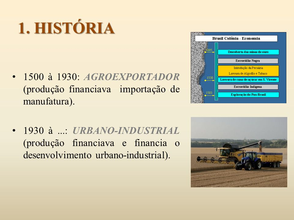 1. HISTÓRIA 1500 à 1930: AGROEXPORTADOR (produção financiava importação de manufatura).
