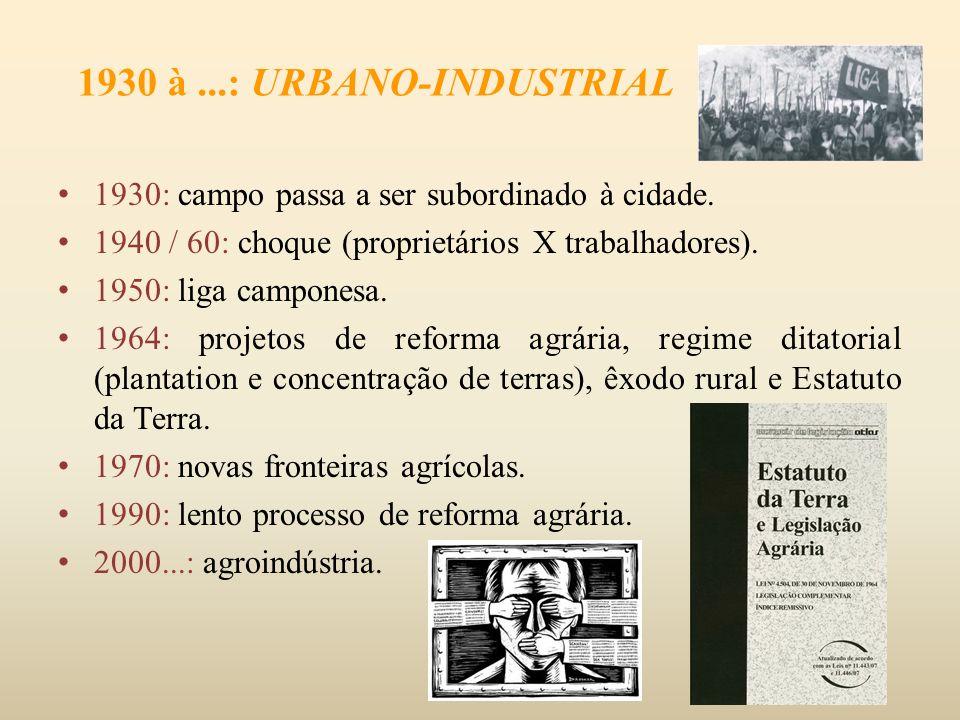 1930 à ...: URBANO-INDUSTRIAL 1930: campo passa a ser subordinado à cidade. 1940 / 60: choque (proprietários X trabalhadores).