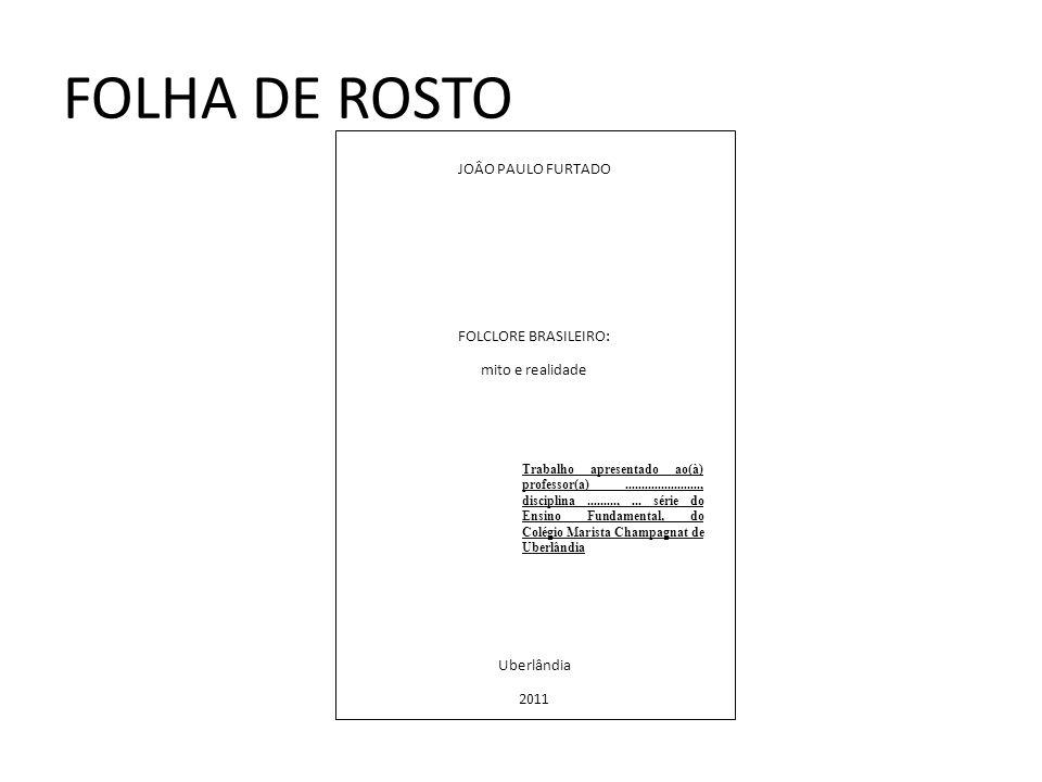 FOLHA DE ROSTO JOÂO PAULO FURTADO FOLCLORE BRASILEIRO: