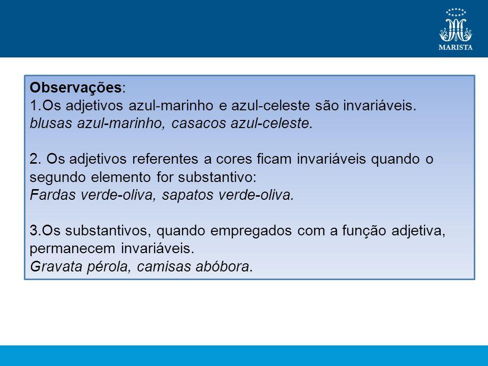 Observações: Os adjetivos azul-marinho e azul-celeste são invariáveis. blusas azul-marinho, casacos azul-celeste.