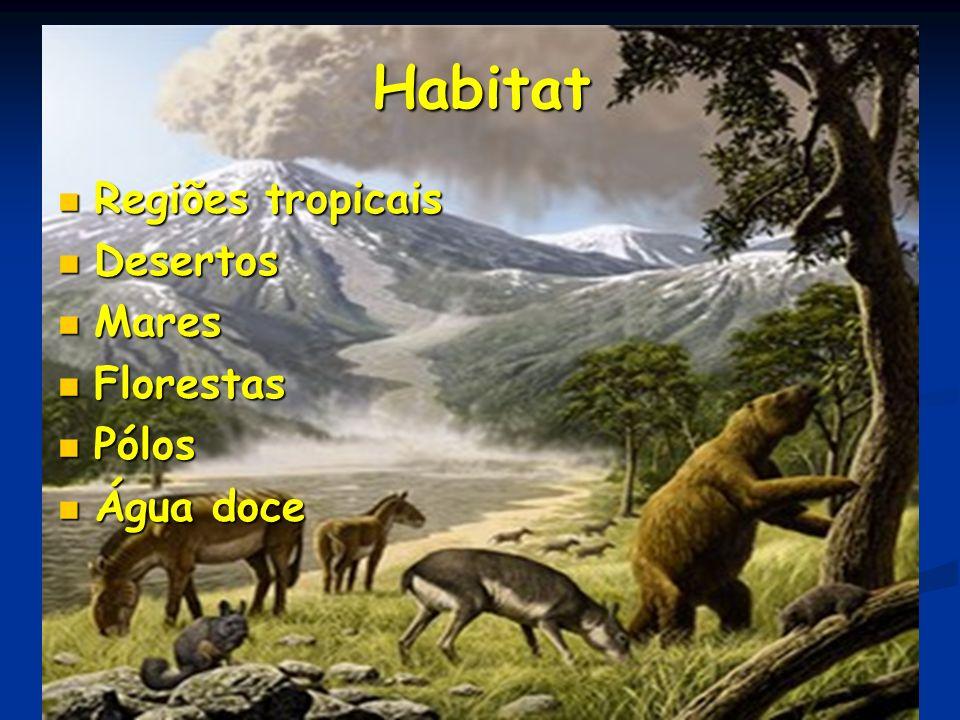 Habitat Regiões tropicais Desertos Mares Florestas Pólos Água doce