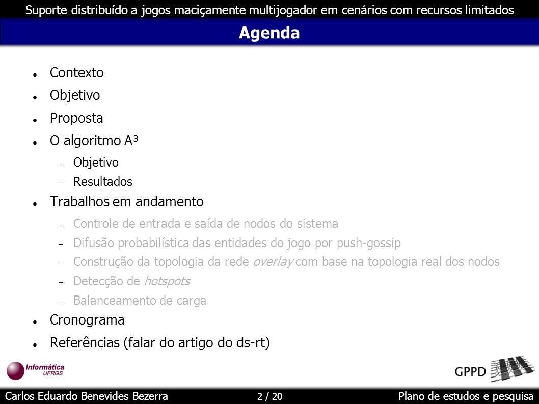 Agenda Contexto Objetivo Proposta O algoritmo A³