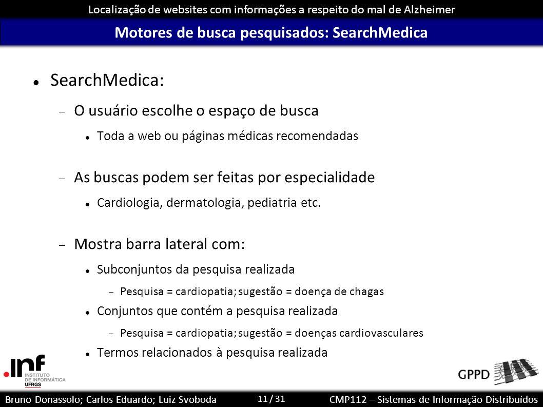 Motores de busca pesquisados: SearchMedica