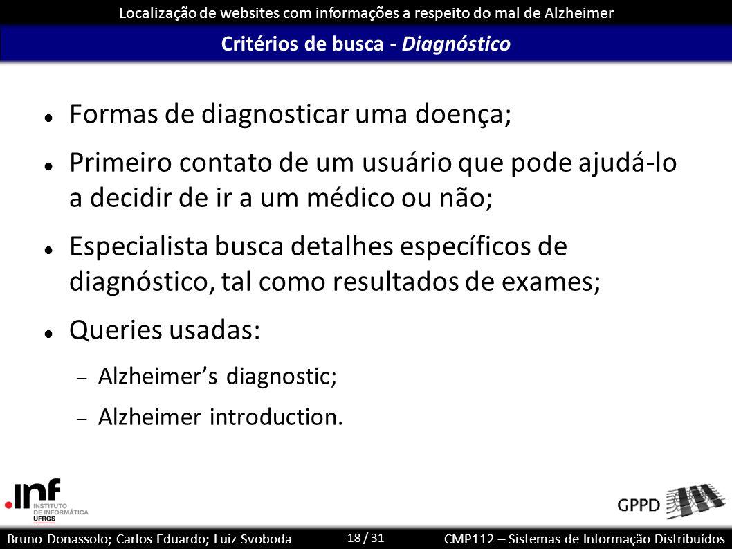 Critérios de busca - Diagnóstico