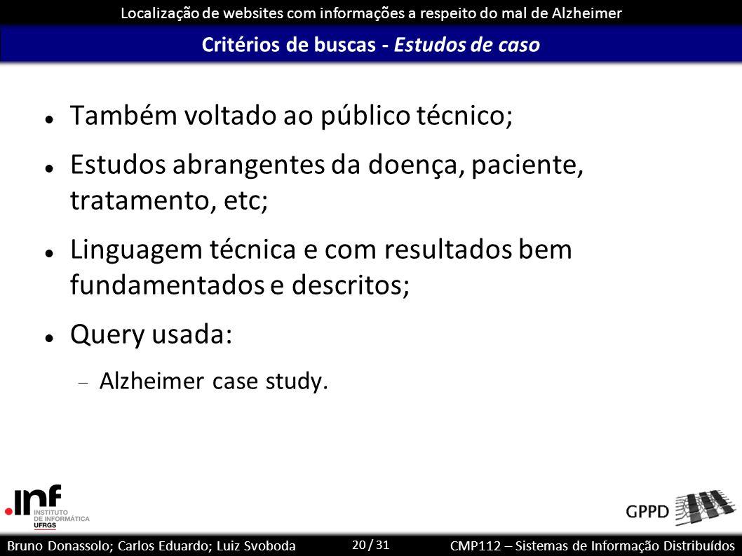 Critérios de buscas - Estudos de caso