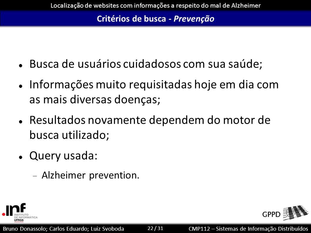 Critérios de busca - Prevenção