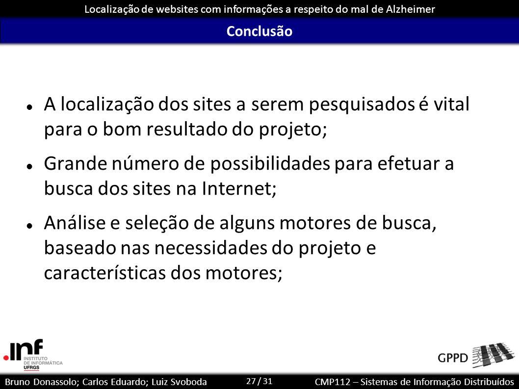 Conclusão A localização dos sites a serem pesquisados é vital para o bom resultado do projeto;