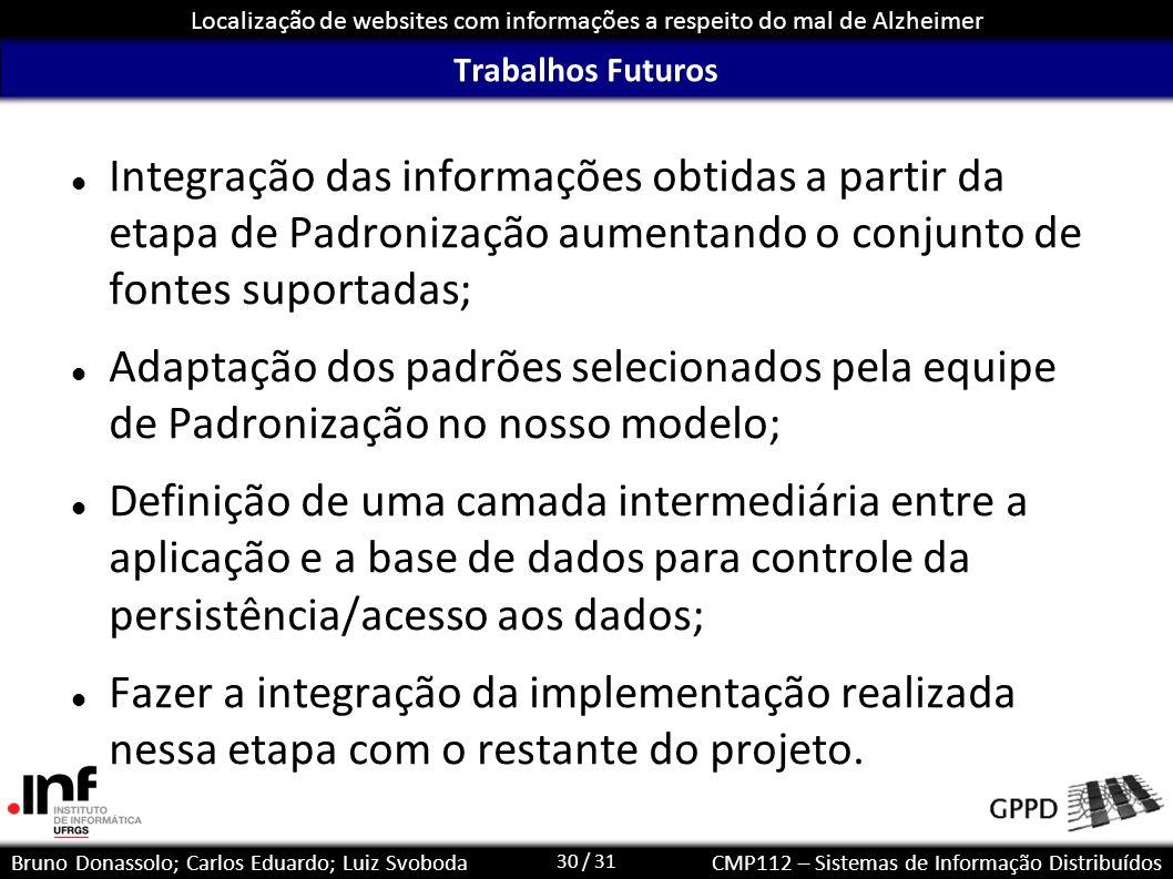 Trabalhos Futuros Integração das informações obtidas a partir da etapa de Padronização aumentando o conjunto de fontes suportadas;
