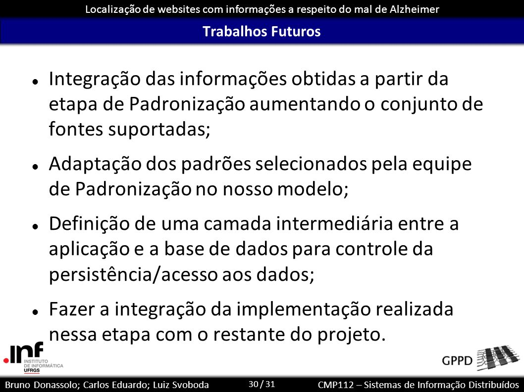 Trabalhos FuturosIntegração das informações obtidas a partir da etapa de Padronização aumentando o conjunto de fontes suportadas;
