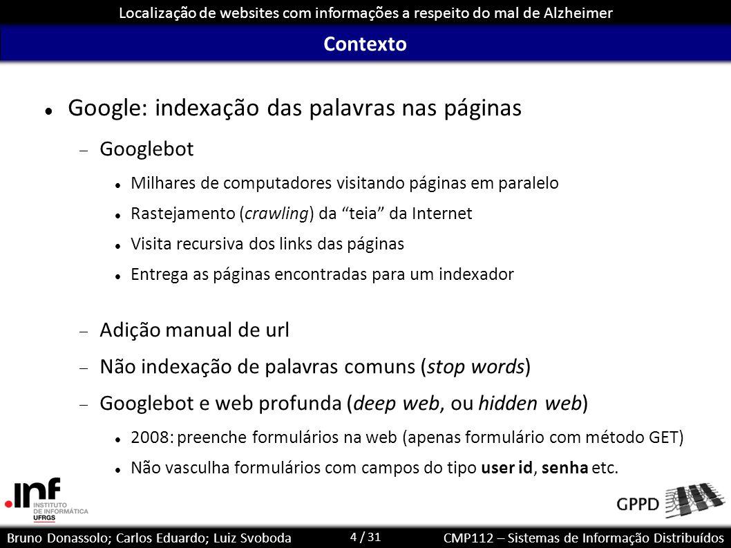 Google: indexação das palavras nas páginas