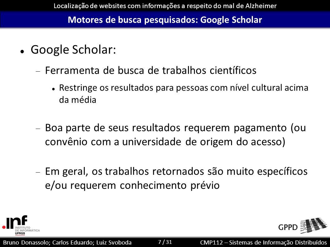 Motores de busca pesquisados: Google Scholar