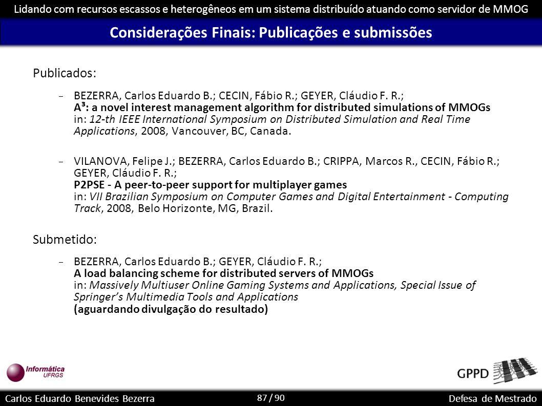 Considerações Finais: Publicações e submissões