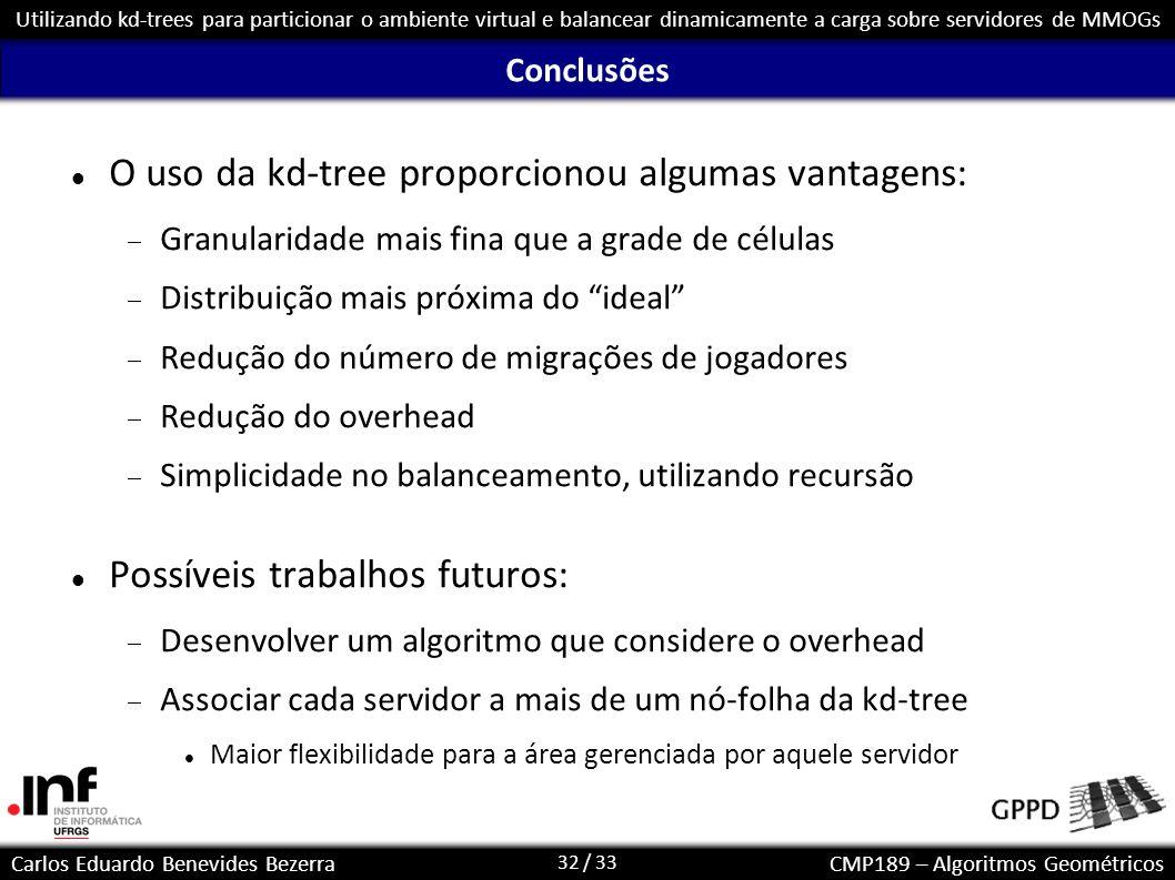 O uso da kd-tree proporcionou algumas vantagens: