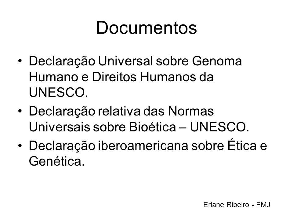 Documentos Declaração Universal sobre Genoma Humano e Direitos Humanos da UNESCO. Declaração relativa das Normas Universais sobre Bioética – UNESCO.