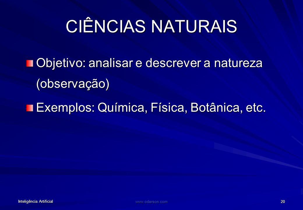 CIÊNCIAS NATURAIS Objetivo: analisar e descrever a natureza (observação) Exemplos: Química, Física, Botânica, etc.